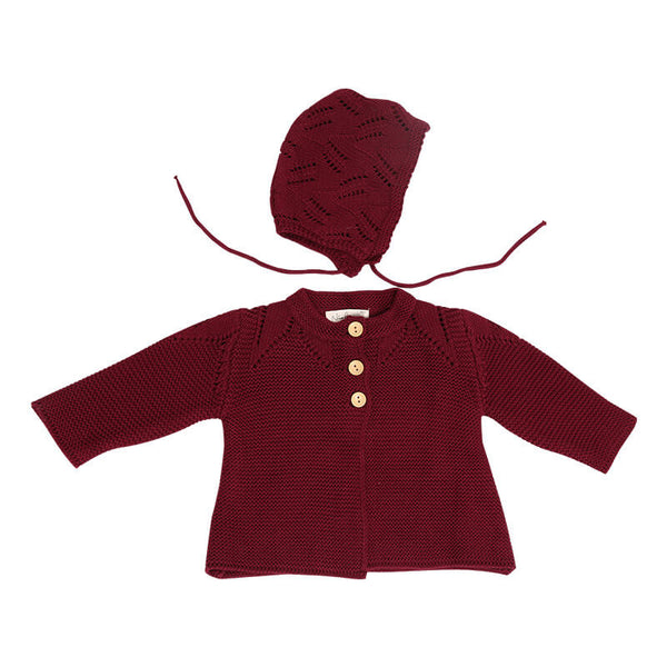 Baby Girls Knitted Cardigan Cotton With Hat 235