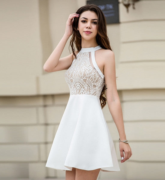 New sexy fashion hollow lace gauze splicing halter show thin white dress
