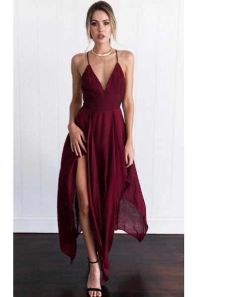 Fashion new irregular harness red dress