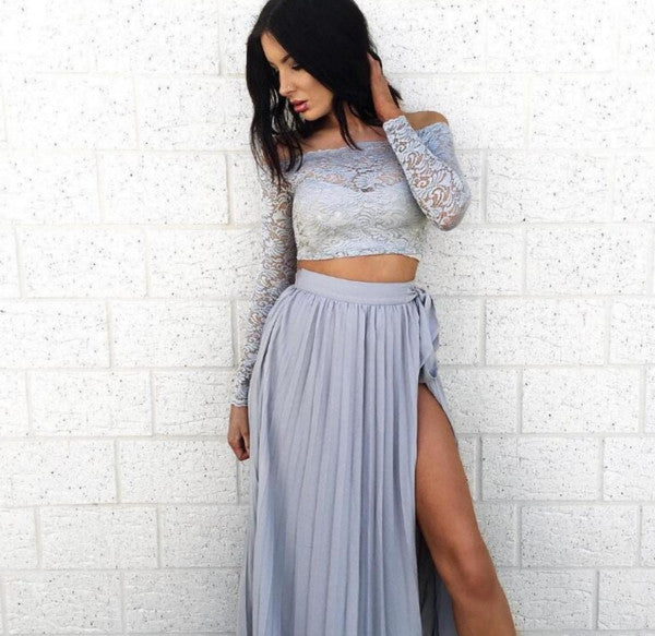 Fashion one-neck lace long-sleeved two-piece gray dress side crinkle crinkle big skirt