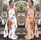 Fashion sexy halter off shoulder print flower long dress