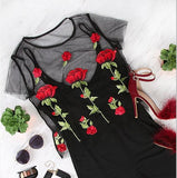 New fashion Floral Embroidered Rose Perspective Mesh black Shirt Top