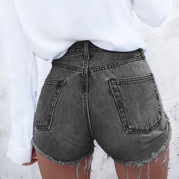 Fashionable Women Stylish Simple High Waist Denim Shorts Black I13115-1