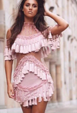 New fashion Sexy off shoulder high neck Nail bead falbala belly hollow gauze dress tassel