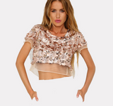 Fashion New Sexy belly hollow sequins lace splicing top (3 color)