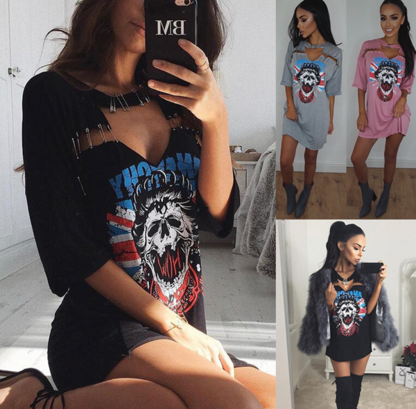 Fashion new hotwear fashion sexy skull T-shirt print gown dress