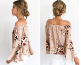 New fashion women flower print long sleeve sleeveless loose top (3color)