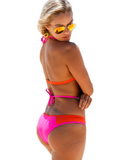 Fashion new sexy yellow pink colorful halter bandage holes two holes bikini