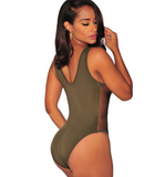 The new fashion Sexy pure army green low chest belly side bricing gauze hollow one piece bikini