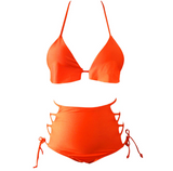 New sexy fashion orange two-piece multi-rope high waist bikini swimsuit
