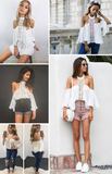 Fashion New sexy halter off shoulder lace splicing white top