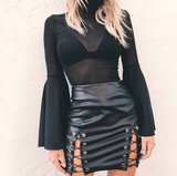 New sexy fashion black UP side lace up type hollow skirt