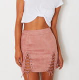 The new Sexy fashion Suede side lace up type hollow skirt