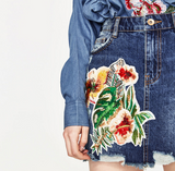 New Sexy Embroidery Flower Blue High Waist Cowboy Short Skirt