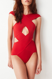Fashion new sexy pure red cross holes one piece bikini swimsuit
