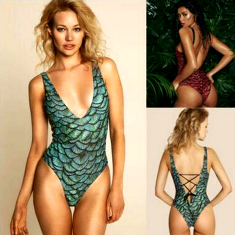 The new fashion sexy deep V fashion green black scale print vest type one piece bikini swimsuit