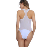Fashion new pure white splicing gauze perspective vest type one piece bikini swimsuit