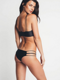 The new sexy black two straps cross bottom side polyline hollow two piece bikini