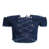 New fashion sezy chest lace up type hollow cowboy show thin blue top shirt