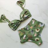 New fashion sexy green floral print high waist bow shape two piece bikini swimsuit