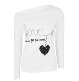 Fashion autumn long-sleeved printing splicing women's white shirt
