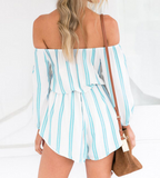 The new summer word collar feel strapless striped romper
