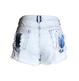 New wallet jeans high waist light polished cowboy shorts large size