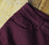 Spring popular hole personality was thin high waist elastic Slim pants trousers large size wine red pants
