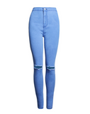 New fashion high waist stretch Slim thin pencil pants pure color hole feet jeans women