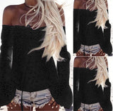 Bra shoulder lace tassels long sleeved blouse stitching T-shirt