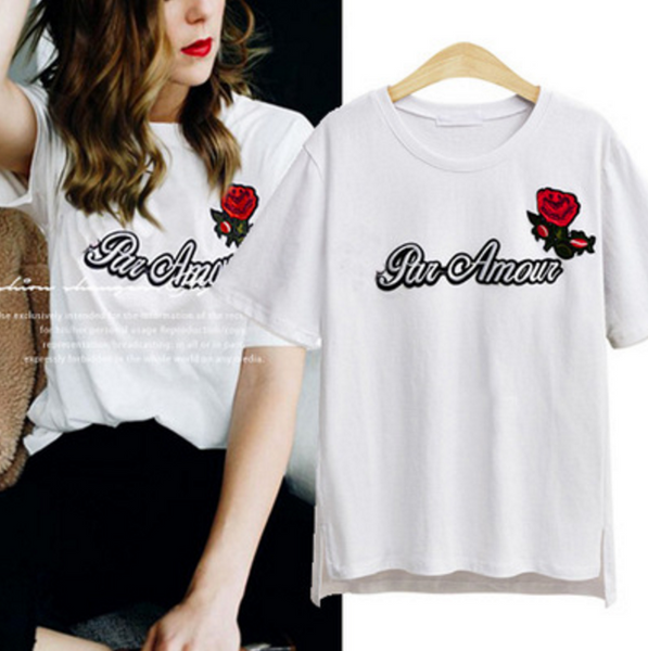 2017 summer new large size rosette embroidered short-sleeved T-shirt black  white shirt top