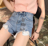 2017 summer new women's fashion print embroidery holes denim blue shorts
