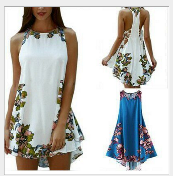 2017 new fashion round neck sleeveless sexy halter with a print flower vest dress