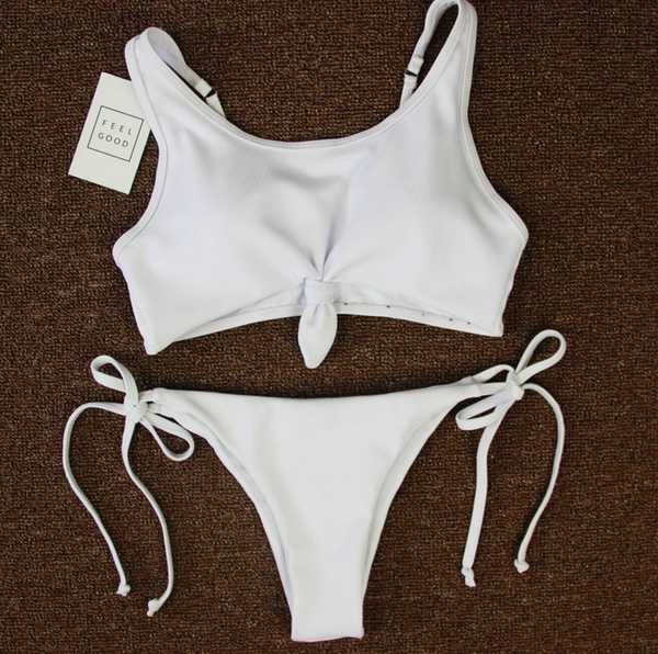New fashion solid color knot two piece  bikini