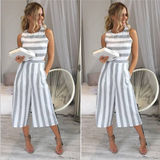 Cotton and cotton seven points wide leg pants 2017 summer new striped striped pants