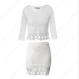 Autumn and winter new lace hollow two sets of casual suit dress