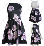 2017 summer new printing hanging neck A word dress dress small skirt