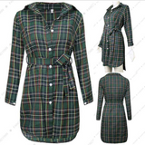 2017 new women long-sleeved jacket in the long paragraph coat dress belt plaid shirt
