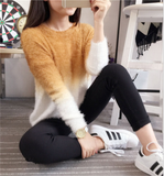 Autumn and winter new dyed mink velvet gradient color round neck sweater women