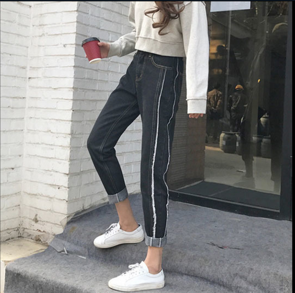 New women's loose straight trousers thin thin side jeans wild trousers students casual pants