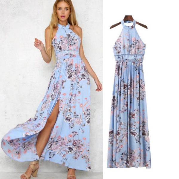 New fashion hanging neck side of the fork dress new summer print dress