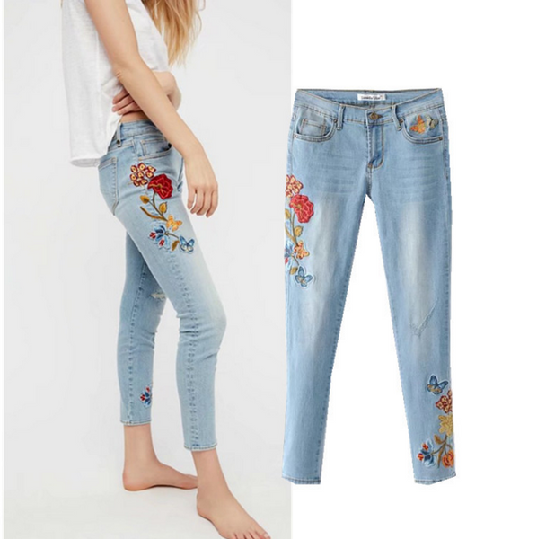 Women's summer new flowers embroidered cowboy pants female jeans