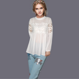 Autumn and winter new long-sleeved splicing round neck chiffon shirt