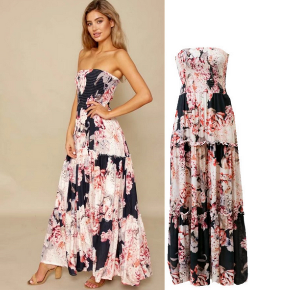 The new fashion printing dress dress women's shoulder dress