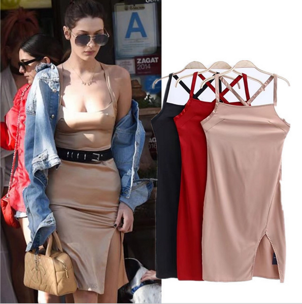 Fashion summer new women split open strap dress