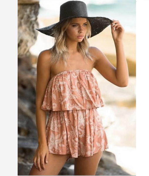 The new fashion women's  shoulder-shaped shorts romper