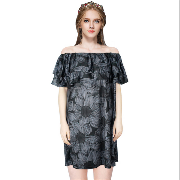 The new one word black print dress large size women
