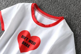 College wind, baseball T-shirt, short jacket, small round neck, campus girl hit color, red love letter printed navel