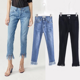 A good version of the type all-match money washing light waist retro irregular fringed edges trousers nine straight jeans