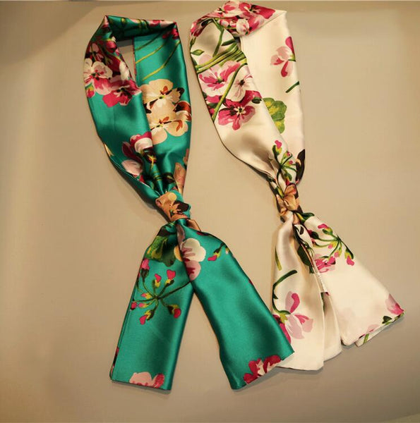 The narrow strip of small rectangular sunscreen small scarf scarves scarf tie female decorative satin shawl